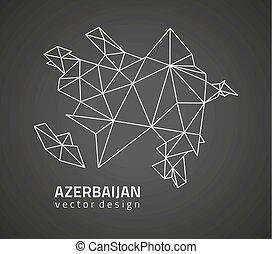 χάρτηs , περίγραμμα , αζερμπαϊτζάν , μικροβιοφορέας , μαύρο...
