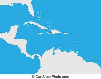 χάρτηs , περιοχή , caribbean , america., κεντρικός
