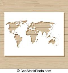 χάρτηs , στένσιλ , φόντο , ξύλινος , φόρμα , κόσμοs