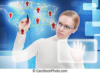 χάρτηs , τριγύρω , αρμοδιότητα ακόλουθοι , concept., επικοινωνία , σύνδεση , μέλλον , σύνδεσμος , κόσμοs