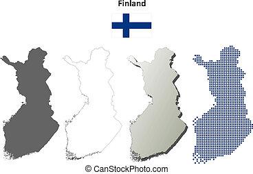 χάρτηs , φινλανδία , θέτω , περίγραμμα , κενό