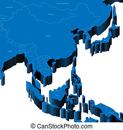 χάρτηs , 3d , ασία , south-east