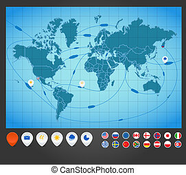 χάρτηs , infographics., ανιχνεύω , πλοίο , κόσμοs