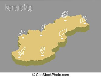 χάρτηs , isometric , slovakia , concept.