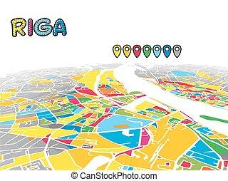 χάρτηs , riga , κάτω στην πόλη , μικροβιοφορέας , λατβία , 3d