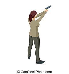 χέρι , ή , αρσενικό , όπλο , γυναίκα , white., εγκληματίαs , isometric , iolated, holding., πίσω , βλέπω , αστυνομικόs , δικός του , βλέπω