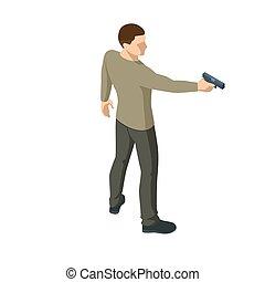 χέρι , ή , αρσενικό , όπλο , white., isometric , εγκληματίαs , iolated, άντραs , holding., πίσω , βλέπω , αστυνομικόs , δικός του , βλέπω