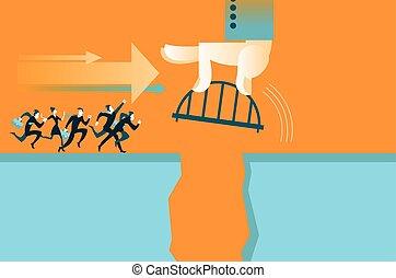 χέρι , ακουμπώ , ο , γέφυρα