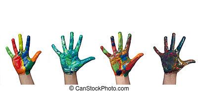 χέρι , απεικονίζω , παιδί , χρώμα