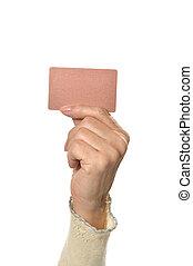 χέρι , απομονωμένος , κάρτα , κενό