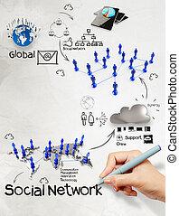 χέρι , αποσύρω διάγραμα , από , κοινωνικός , δίκτυο , δομή