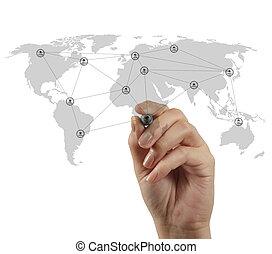 χέρι , αποσύρω , κοινωνικός , δίκτυο , δομή