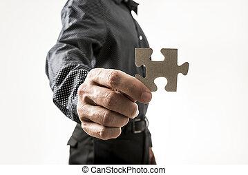 χέρι , από , άντραs , κράτημα , αίνιγμα δείγμα