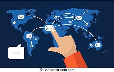 χέρι , αφορών , κατ' ουσίαν καίτοι όχι πραγματικός , ένα , εικόνα , από , κοινωνικός , δίκτυο , επάνω , άρθρο ανθρώπινη ζωή και πείρα , map.