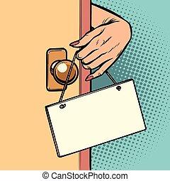χέρι , γυναίκα , πόρτα , αναρτώ , σήμα