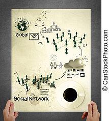 χέρι , δείχνω , κοινωνικός , δίκτυο , δομή , αφίσα
