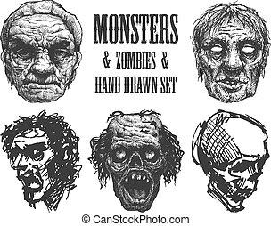 χέρι , ζόμπι , μικροβιοφορέας , outbreak., eps8, drawn.