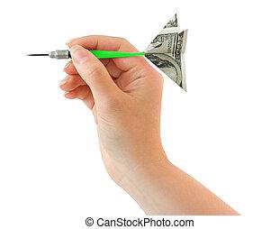 χέρι , και , χρήματα , ακόντιο