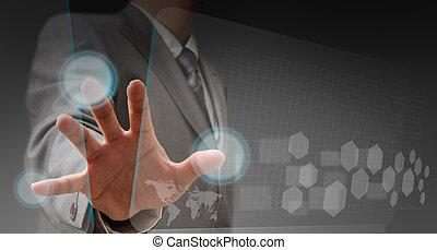 χέρι , και , touchscreen, τεχνολογία