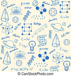 χέρι , μετοχή του draw , επιστήμη , seamless, απεικόνιση