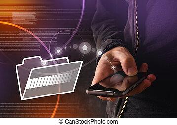 χέρι , με , κινητός , κομψός , τηλέφωνο , transfering , άγκιστρο για ανάρτηση εγγράφων , να , σύνεφο , ντοσσιέ