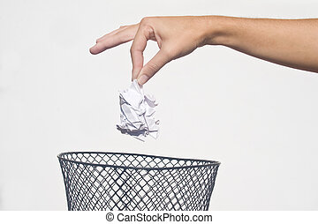 χέρι , με , σκουπίδια