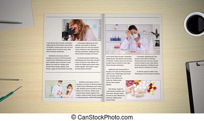 χέρι , περιστροφικός , σελίδες , από , ιατρικός , νέα