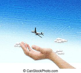 χέρι , φόντο , ουρανόs , πάνω , μπλε , αεροπλάνο