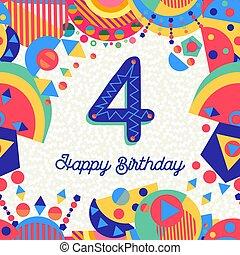 χαιρετισμός , αριθμητική 4 , γενέθλια , 4 , έτος , πάρτυ , κάρτα