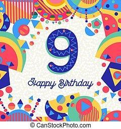 χαιρετισμός , αριθμόs , γενέθλια , εννέα , έτος , 9 , πάρτυ , κάρτα