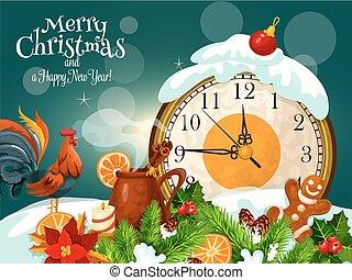 χαιρετισμός , εύθυμος , έτος , καινούργιος , xριστούγεννα , κάρτα , ευτυχισμένος