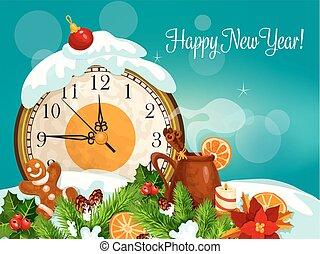 χαιρετισμός , μικροβιοφορέας , έτος , καινούργιος , κάρτα , ευτυχισμένος