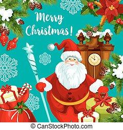 χαιρετισμός , santa , έτος , καινούργιος , χριστουγεννιάτικη κάρτα
