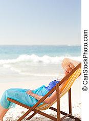 χαλάρωσα , γυναίκα , παραλία