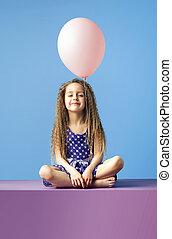 χαλάρωσα , κορίτσι , κράτημα , balloon
