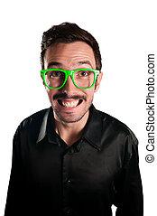 χαμογελαστά , γυαλιά , πράσινο , άντραs