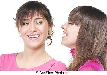χαμογελαστά , γυναίκεs , μέσα , ροζ