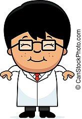 χαμογελαστά , επιστήμονας , μικρός , γελοιογραφία