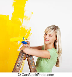 χαμογελαστά , ζωγραφική , γυναίκα , κίτρινο