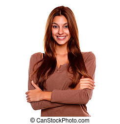 χαμογελαστά , νέα γυναίκα , με , ένα , άνευ όρων διάθεση