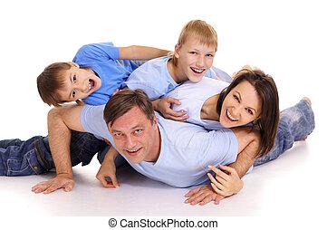 χαμογελαστά , οικογένεια , ευτυχισμένος