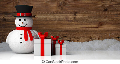 χαμογελαστά , χιονάνθρωπος , κατακλύζω , ξύλινος , φόντο ,...