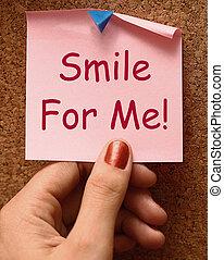 χαμόγελο , για , εμένα , σημείωση , μέσα , γίνομαι , ευτυχισμένος , ιλαρός