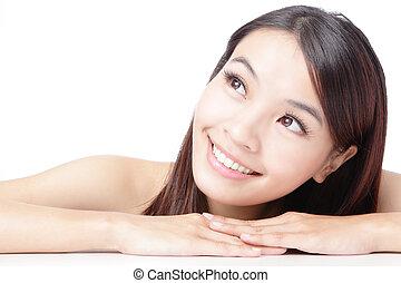 χαμόγελο , γυναίκα , ασιατικός αντικρύζω