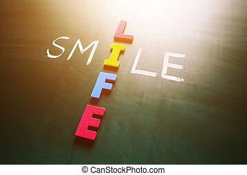 χαμόγελο , ζωή , γενική ιδέα , μαυροπίνακας