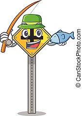 χαρακτήρας , διάβαση , ψάρεμα , άκρα του δρόμου , σήμα