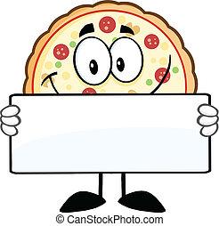χαρακτήρας , κράτημα , σήμα , πίτα με τομάτες και τυρί