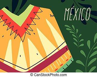 χαρακτηριστικός , μάλλινη κάπα , μεξικάνικος , επιγραφή , μεξικό