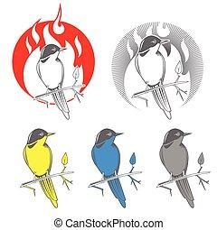 χαρακτική , πουλί , αηδόνι , έμβλημα , μικροβιοφορέας