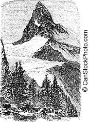 χαρακτική , monte , κρασί , cervino., zermatt , ελβετία , matterhorn , ή